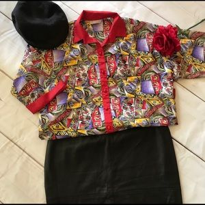 Vintage Seville Red Abstract Button Front Shirt